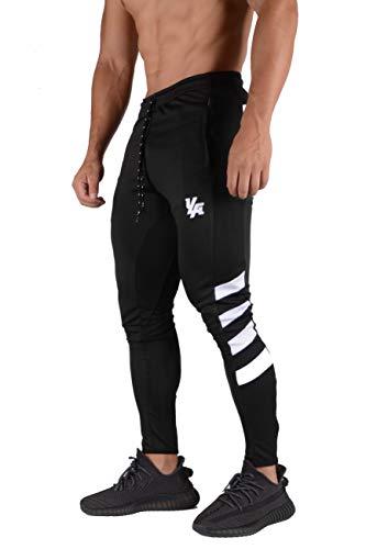 YoungLA – Calça masculina de treino de futebol, ajuste afunilado, 5 cores, 201, Black/White, X-Large