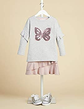 Marque Amazon - RED WAGON Butterly Sequin - Sweat-Shirt - Fille, Gris (Multicolour), 128, Label:8 Years