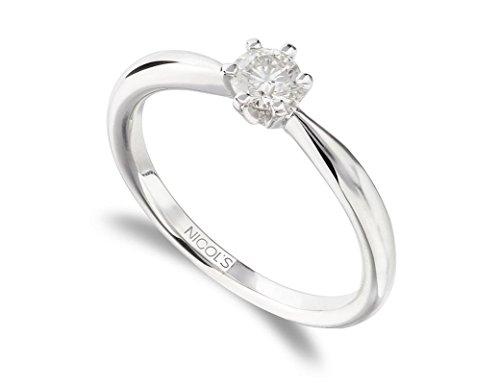 NICOLS 9992831 - Anillo de Compromiso Alexia Oro Blanco (18kt) con Diamante 0.05 Ct