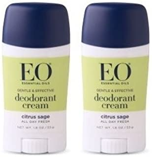 EO Deodorant Cream Citrus Sage (Pack of 2) With Cassava Root, Baking Soda, Coacoa Seed Butter, Vitamin E, Tapioca, Lemon, Flower Extract, Lavender, Orange, Lime, Sage and Cedar, 1.8 oz. Each