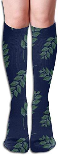 Äste auf dunkelblauem Polsterstoff Kompressionssocken Erwachsene Kniestrümpfe Gym Outdoor Socken 50cm 19.7inch