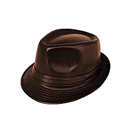 Krystle Unisex Imported Stylish Fashionable Cowboy Leather Fedora Hat Brown