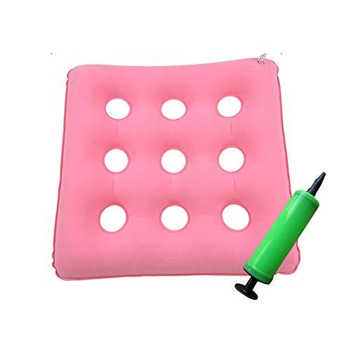 XJZHAN Anti-Dekubitus-Kissen für Rollstuhl, aufblasbar, orthopädisches Sitzkissen zur Entlastung des Rückens, Steißbein-Sitzkissen, Pink