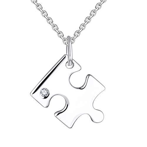 JO WISDOM Vrouwen Ketting,925 Sterling Zilver bbf Puzzle Best Friend Forever Hanger Ketting met AAA Cubic Zirconia