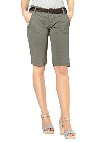 Fresh Made Fresh Made Damen Bermuda-Shorts im Chino Style mit Gürtel Middle-Green XL