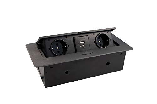 JUVA Einbausteckdose Küche & Schreibtisch - Kombibox DL10007 | Doppel-Steckdose 2 x Schuco-Stecker + 2-fach USB | Tischsteckdose Schwarz | Unterbau-Steckdose mit Soft-Closing Klappdeckel | 1 Stück