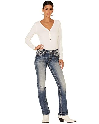 Miss Me Women's Feathery Fleur Medium Wash Straight Leg Jeans Dark Blue 28W x 33L