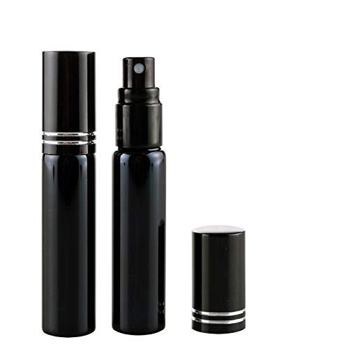 Hustar 2 Pièces 10ml Vaporisateurs de Parfum Vide Rechargeable Flacon de Poche en Verre pour Homme et Femme Noir