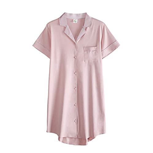 Modal Nachthemd, Sommer der Frauen dünner Hemd-Stil mit kurzen Ärmeln, lässige Homewear, Aufschläge, Knöpfe, lose Manschetten, angenehm zu tragen (Color : Pink, Size : M)