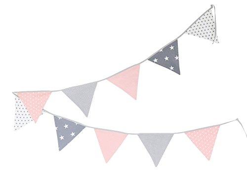 Guirnalda de banderines de ULLENBOOM ® con rosa gris (guirnalda de tela: 3,25 m; 10 banderines; decoración para la habitación de los niños; fiestas de bienvenida para bebés)