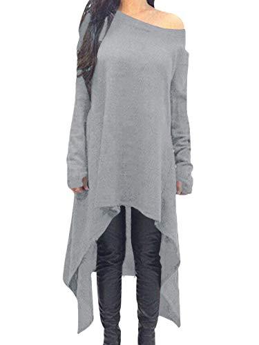 ZANZEA Damen Unregelmäßige Strick Oversize Langarm Pullikleid Longshirt Top Minikleid Hellgrau X-Large