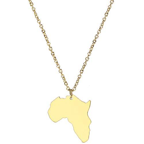 Beito Afrika-Karte Halsketten-Anhänger-Goldfarben-Schmuck Edelstahl-Schmuck
