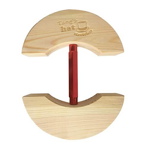 Hutspanner aus Holz, Einheitsgröße, Unisex, für Erwachsene, mit verstellbarem Spannverschluss, passt für alle Hüte (klein, rot)