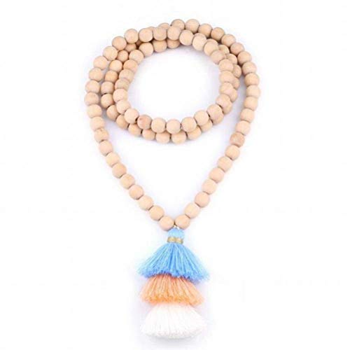 ACZZ Collar de cuentas de madera de moda Collar de cadena de suéter de borla larga gradiente Joyas hechas a mano, verde hierba, 89 cm de largo