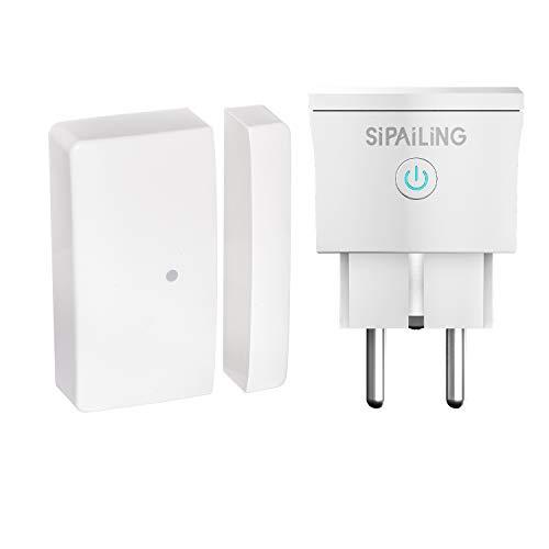 SIPAILING Funk Abluftsteuerung, Zugangskontrolle mit Wireless Fensterkontaktschalter und Funksteckdose für Dunstabzugshaube Kamin Fensterschalter