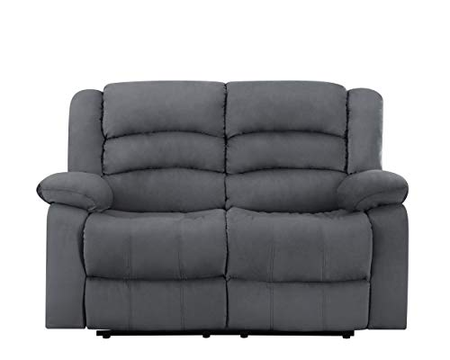 Blackjack Furniture 9824 Winthrop Collection Den Microfiber Modern Reclining Living Room Sofa, Loveseat, Gray