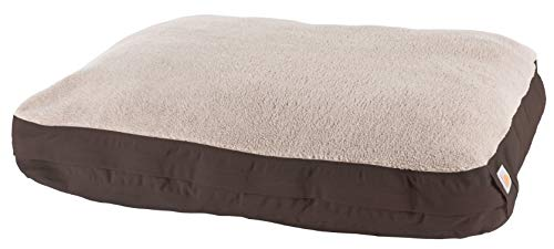 Carhartt Pet Beds and Bedding, Sherpa Top Dog Bed, Small, 28L x 20W x 4.25H, OS, Dark Brown