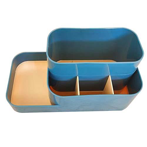 Yesiidor - Caja de almacenamiento para mesa de escritorio, organizador de almacenamiento de mesa de plástico, color azul oscuro