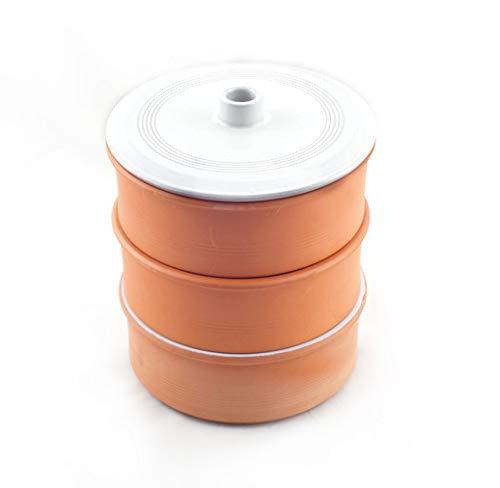 HostelNovo Germinador de Semillas de cerámica Natural - 3 Niveles con amplío Almacenamiento para Las Semillas - Medidas 17 x 19 cm
