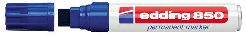 edding 850 Permanentmarker - blau - 1 Stift - Keil-Spitze 5-15 mm - für breite Markierungen - wasserfest, schnell-trocknend, wischfest - für Karton, Kunststoff, Holz, Metall, Glas