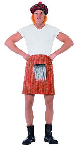 Fancy Ole - Kostüm Accessoires Zubehör Herren Männer Schottenrock Tartan Kilt mit Felleinsatz im Highlander Stil, perfekt für Karneval, Fasching und Fastnacht, Rot