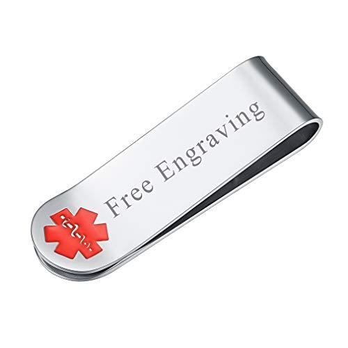 FaithHeart - Cruz Roja Personalizado Clip de Dinero Plateado con Nombres Grabados...