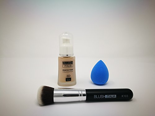 Blush Italie Lot de teint 3 en 1 Haute coprenza + Beauty Blender + Pinceau Nuance