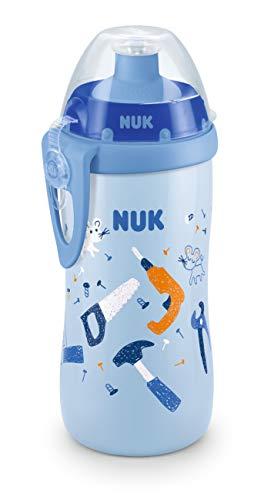 NUK 10255565 - Taza infantil con boquilla de empuje, 300 ml, a partir de 36 meses, antigoteo, con clip, sin BPA, 1 unidad, color azul