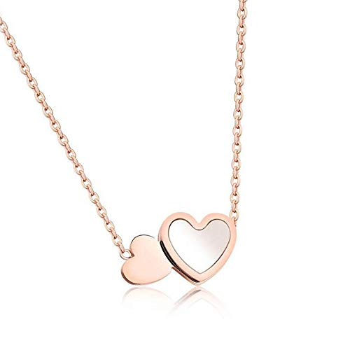 N/W Stainless Steel Double Heart Rose Gold Opal Stone Pendant Necklace Mini Heart Jewelry Necklaces Gift -rose gold
