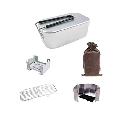 tellaLuna Juego para Acampar al Aire Libre 5 en 1 con Vajilla para Exteriores, Cuenco de Aluminio, Estante para, Estufa de Bolsillo y Tabla una Prueba de Viento