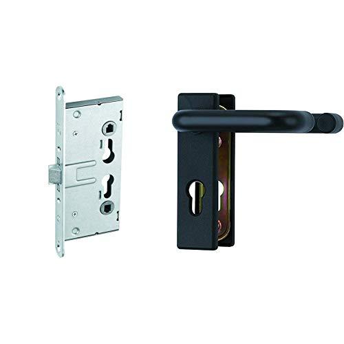 ABUS Einsteckschloss EFS65 für Feuerschutztüren, 21511 & Beschlag KFG für Feuerschutztüren mit beidseitigem Drücker, schwarz, 21523