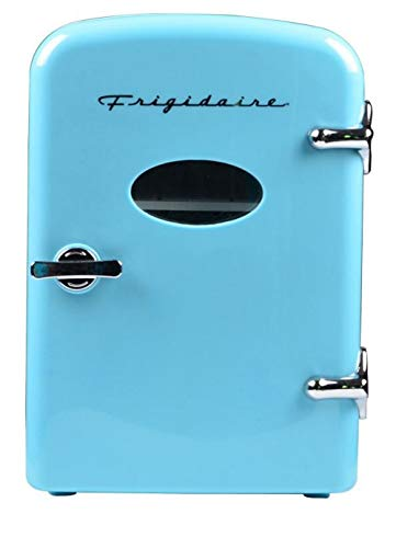 Frigidaire Retro Mini Compact Beverage Refrigerator, Great for keeping office lunch cool! (Blue, 6 Can) (Renewed)