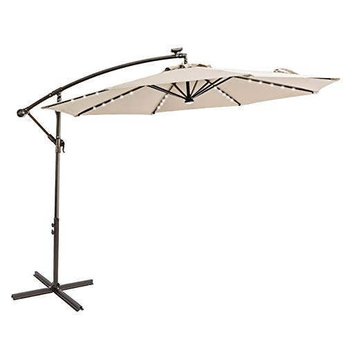 C-Hopetree 10 ft Offset Cantilever Outdoor Patio Umbrella with Solar LED Lights with Cross Base Stand, Beige