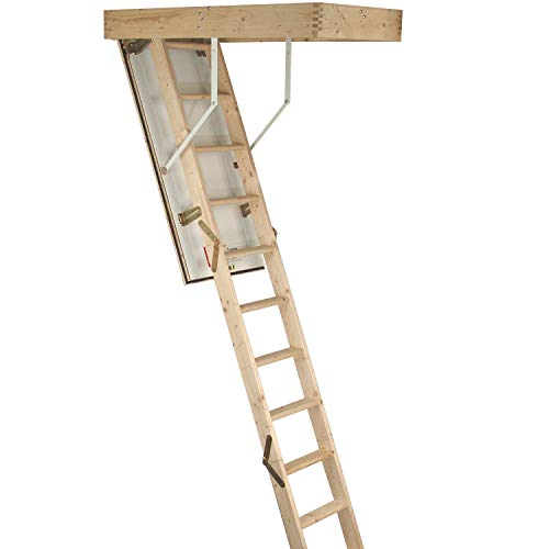 3 Abschnitte Holz Klappleiter Dachbodenleiter Kit - Tür Luke & Rahmen - 2,8 m Boden bis Decke max. Höhe - 550 mm Schwung 12 Stufen Dachbodentreppe Treppe