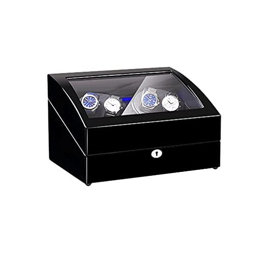 LRBBH Automatische Uhrenbeweger Für 4 Automatikuhren Mit Zusätzlichen 6 Uhrenlagern LED-Beleuchtung Wood Shell Piano Finish Silent Motor Laufleise Sichtfenster