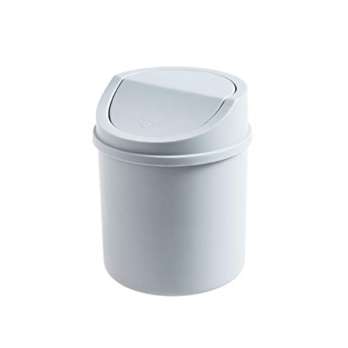 ZNZN Bote de Basura Cubos de Basura con Tapa, Cubierta Cubos de Basura papeleras 5.1 * 6.9, 1.5 galones 1/2 Paquete Gris/Rosa, for el hogar, Cocina y baño Basura Papeleras (Color : Grayx2)
