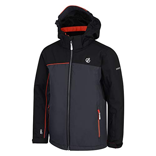 Dare 2b Kinder Legit Waterproof & Breathable Foldaway Hooded Ski & Snowboard Jacket with High Loft Insulation and Snowskirt wasserdichte, isolierte Jacken, Ebony Grey/Black, 11-12
