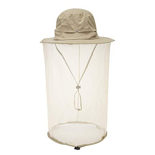 Mosquito Head Net Hat Hidden Mesh Sun Hat Men Women Outdoor Insect UV Protective Khaki
