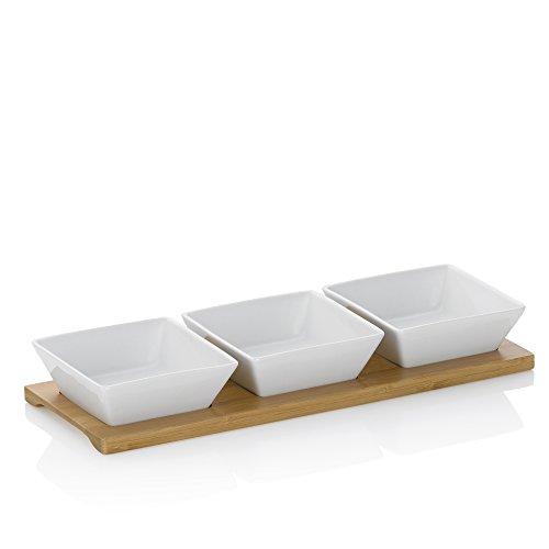 Kela 12261 Schalen-Set mit Bambusbrett, 4tlg., Eckig, Porzellan, 33 x 12 x 5, Philipa, Weiß