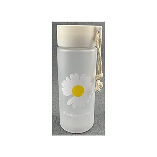UKKD Botella Agua 500 Ml Pequeña Margarita Botellas De Agua Plásticas Bpa Free Frosted Bottle-500Ml,Frosted 1 Flower B