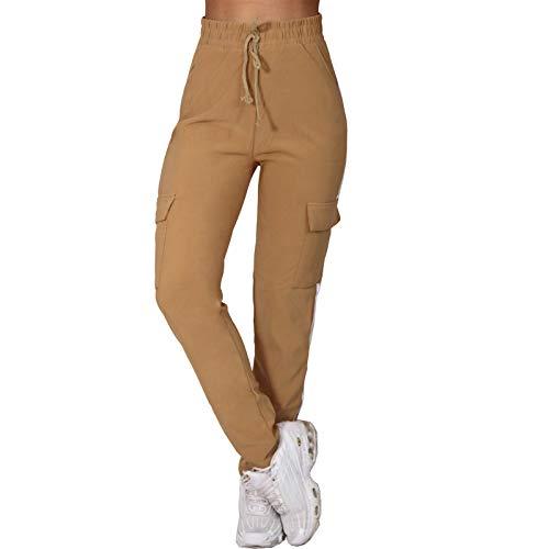 Candygirls P5322 - Pantalones cargo de cintura alta con rayas laterales marrón M-L