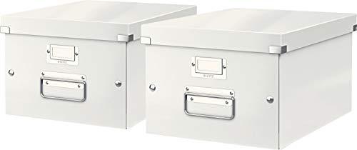 Leitz, Mittelgroße Aufbewahrungs- und Transportbox, Mit Deckel, Für A4, Click & Store (Weiß, Mittel | 2er Pack)