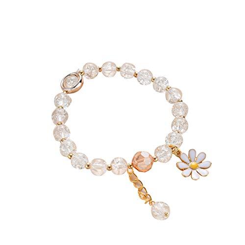 Bingdong Pulsera con girasol pequeñas margaritas de imitación de cristal de joyería regalos para niñas