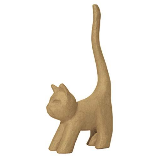 Décopatch AP129O Träger XS aus Pappmaché, mini Katze mit langen Schwanz, 9,3 x 3,5 x 16,5 cm, zum Verzieren