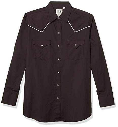 ELY CATTLEMAN Men's Long Sleeve Western Shirt with Contrast Piping, Black, L