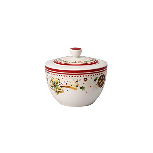 Villeroy & Boch Winter Bakery Delight Sucrier, Porcelaine Premium, Blanc/Rouge