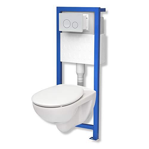 WC-Set Vorwandelement inkl. Drückerplatte + Wand WC Base Pro ohne Spülrand [made by Roca] + WC-Sitz mit Soft-Close-Absenkautomatik (OW)