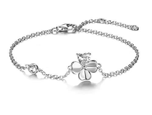Lovans 925 Sterling Silver Four-Leaf Clover Bracelet Lucky Love Zircon Bracelet Gift for Women Girls