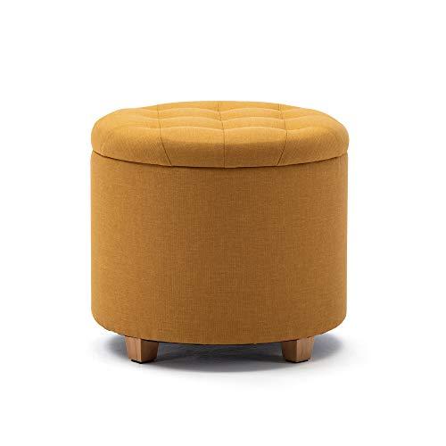 HNNHOME 45 cm redondo lino acolchado asiento otomano almacenamiento taburete, reposapiés puffes silla con tapas (amarillo)