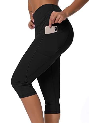 INSTINNCT Damen Doppeltaschen Sport Leggings 3/4 Yogahose Sporthose Laufhose Training Tights mit Handytasche Capris(normal) - Schwarz-1 M